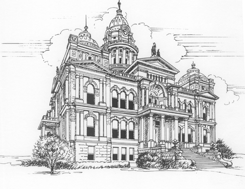 ink drawing of courthouse 2